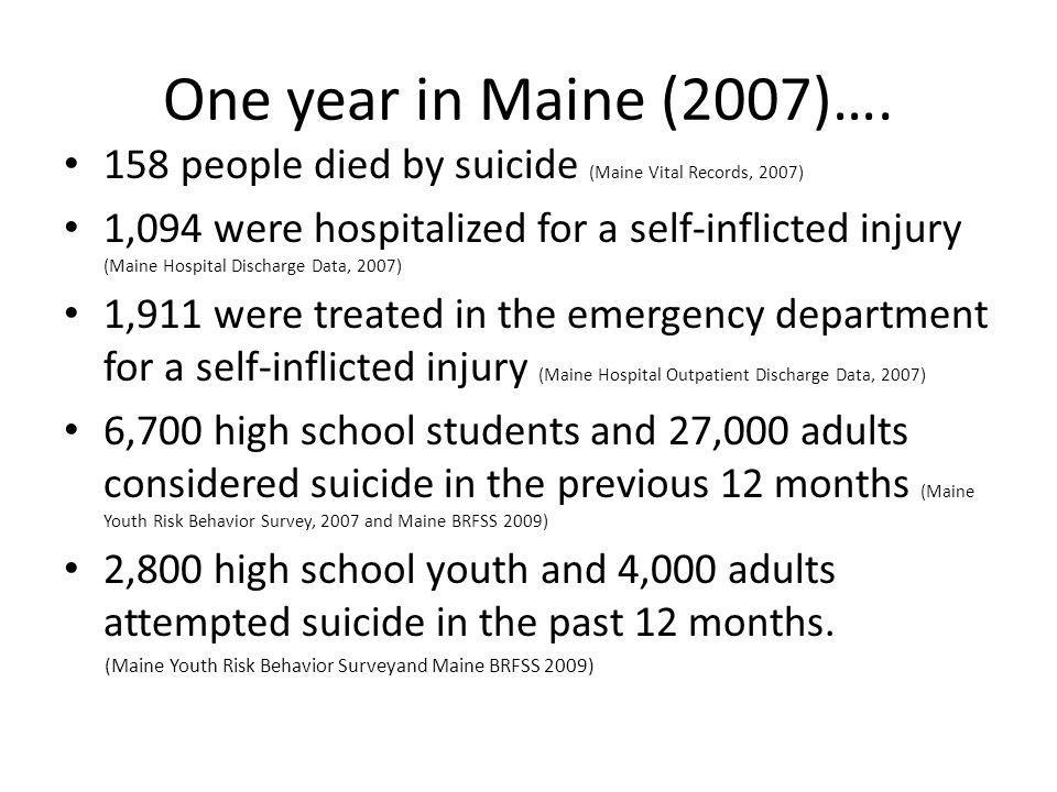 One year in Maine (2007)…. 158 people died by suicide (Maine Vital Records, 2007)