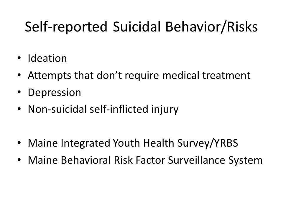 Self-reported Suicidal Behavior/Risks