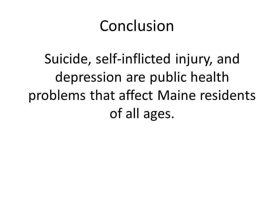 Conclusion Suicide, self-inflicted injury, and depression are public health problems that affect Maine residents of all ages.