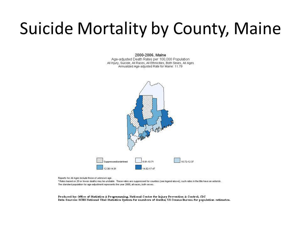 Suicide Mortality by County, Maine