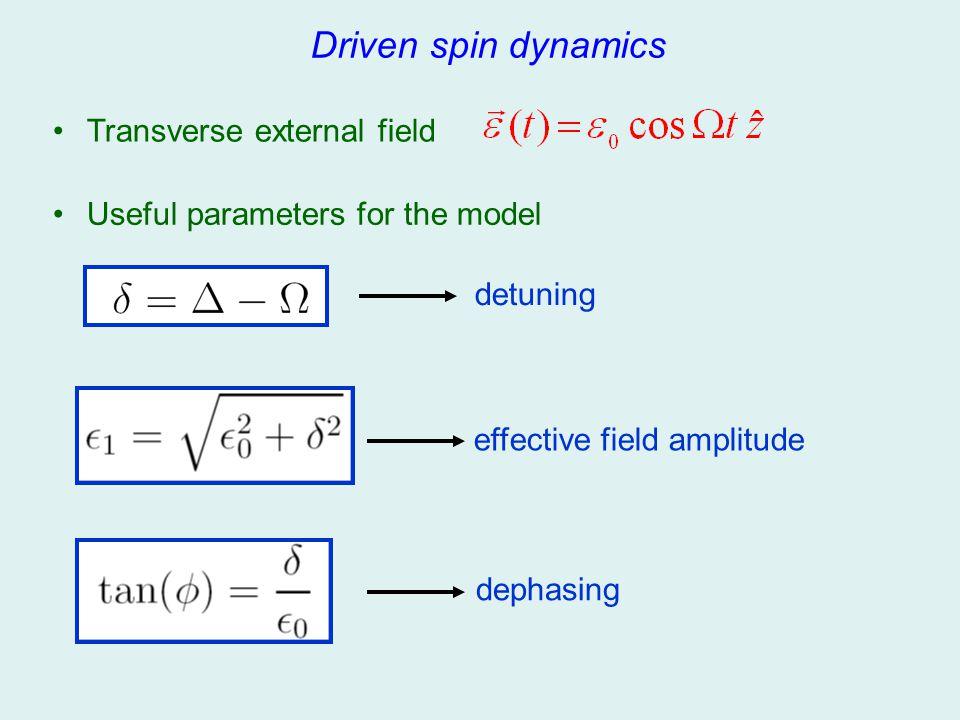 Driven spin dynamics Transverse external field