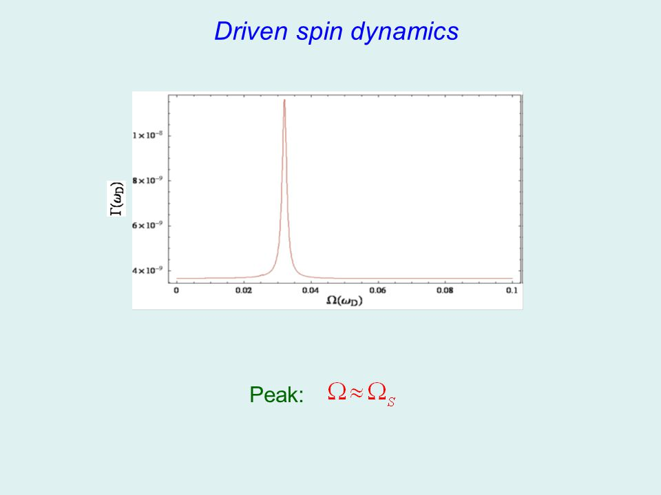 Driven spin dynamics Peak:
