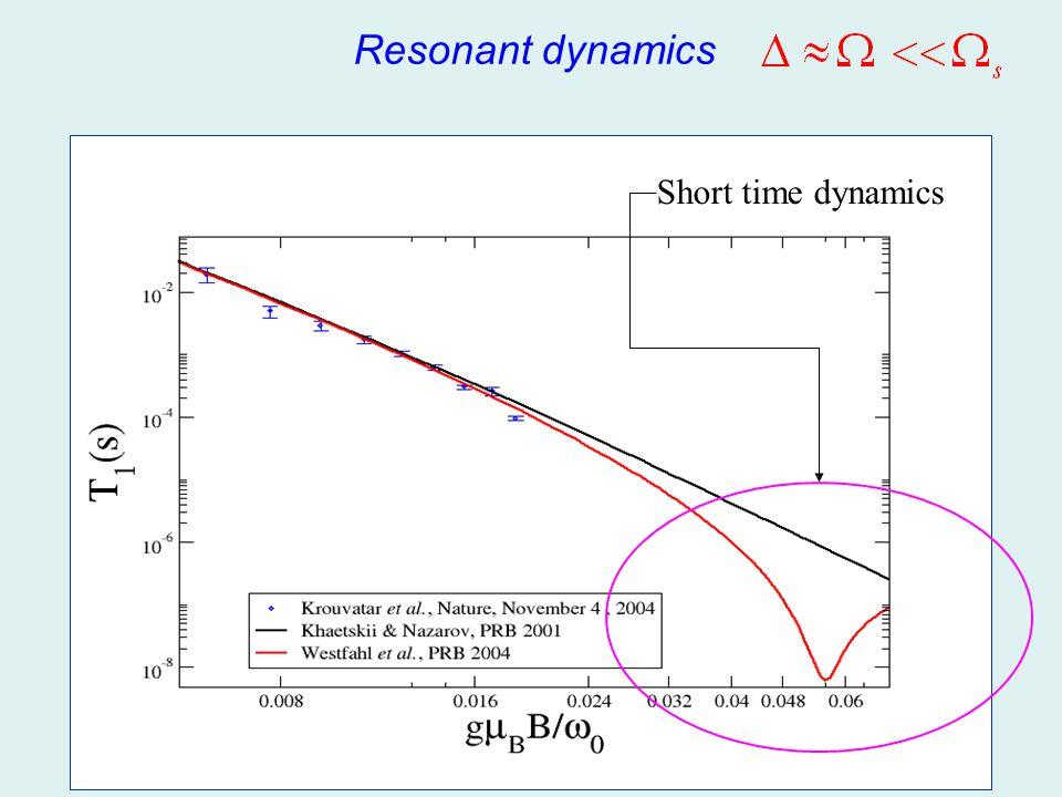 Resonant dynamics Short time dynamics
