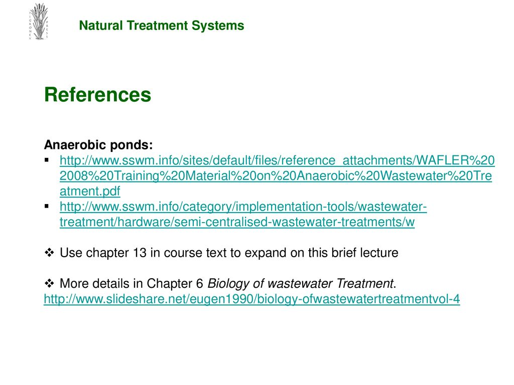 Natural Wastewater Treatment Systems - ppt download