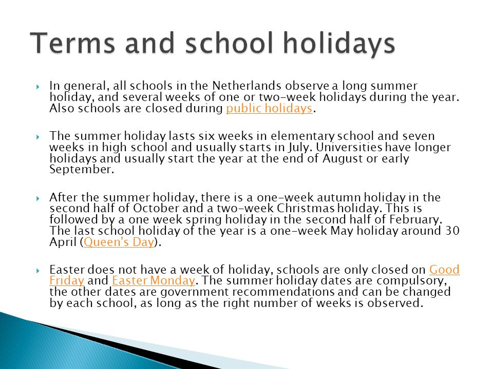 Terms and school holidays