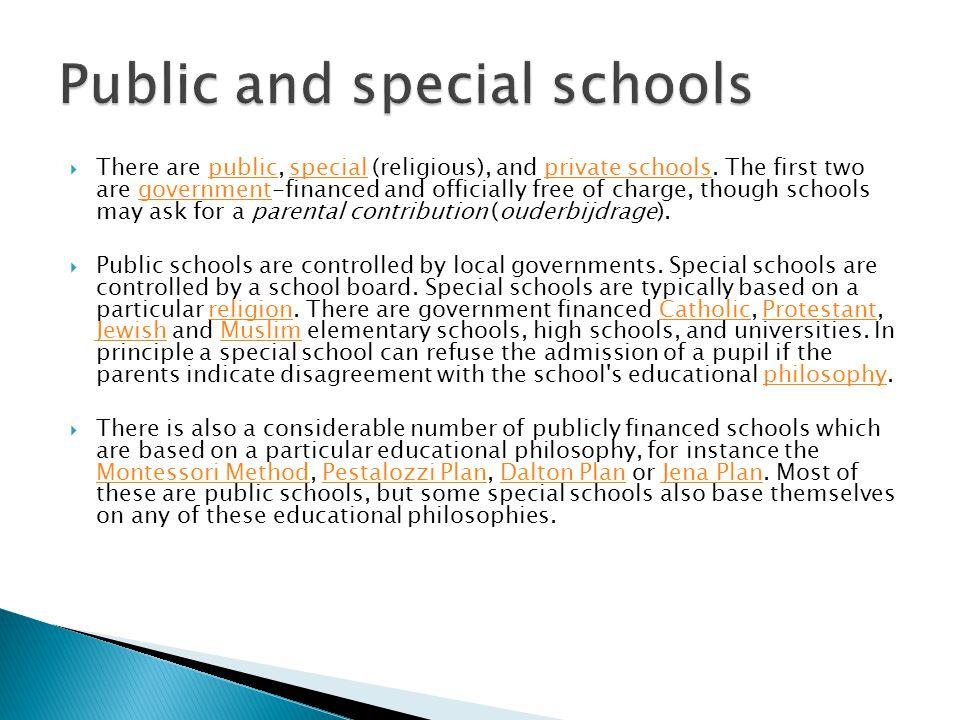Public and special schools