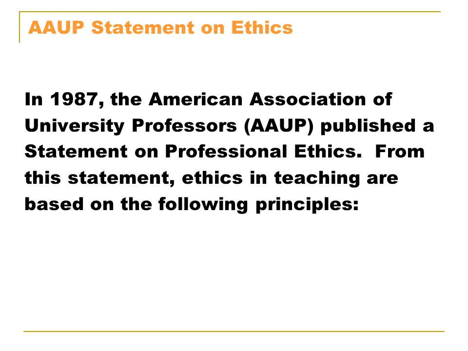 AAUP Statement on Ethics