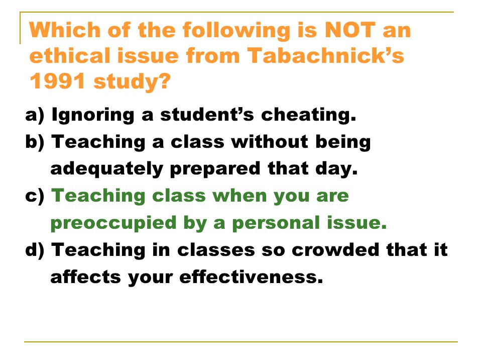 Which of the following is NOT an ethical issue from Tabachnick's 1991 study