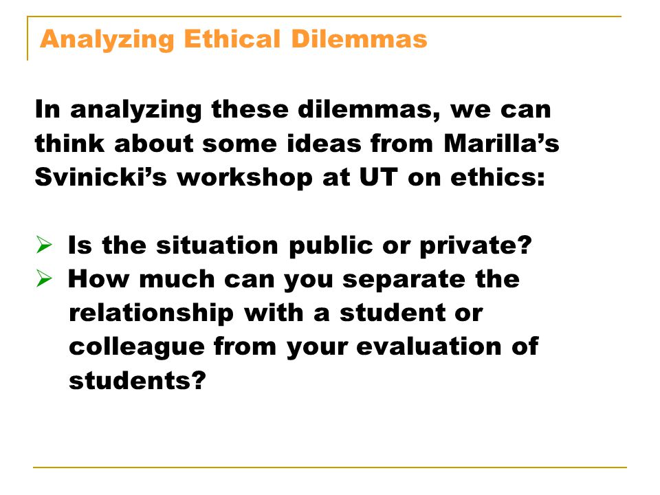 Analyzing Ethical Dilemmas