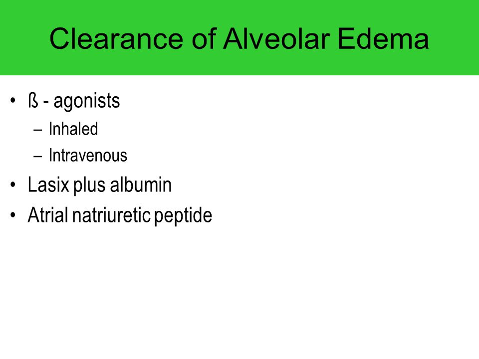 Clearance of Alveolar Edema