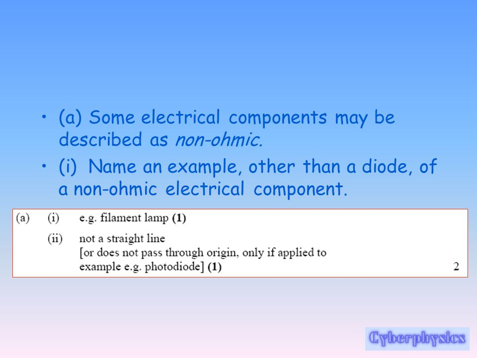 (a) Some electrical components may be described as non-ohmic.