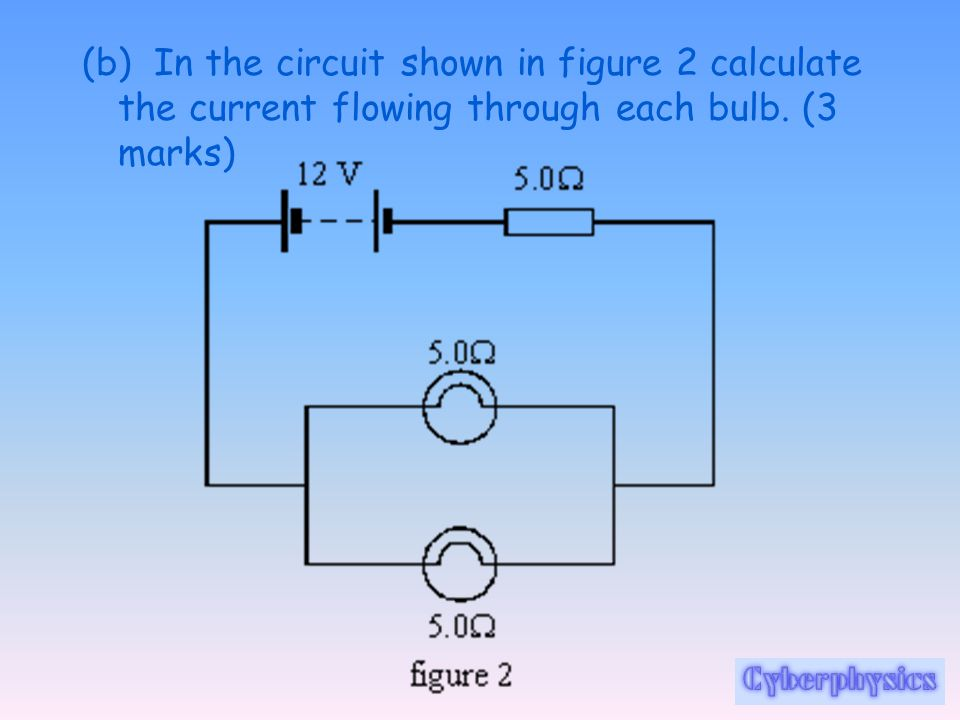 (b) In the circuit shown in figure 2 calculate the current flowing through each bulb. (3 marks)