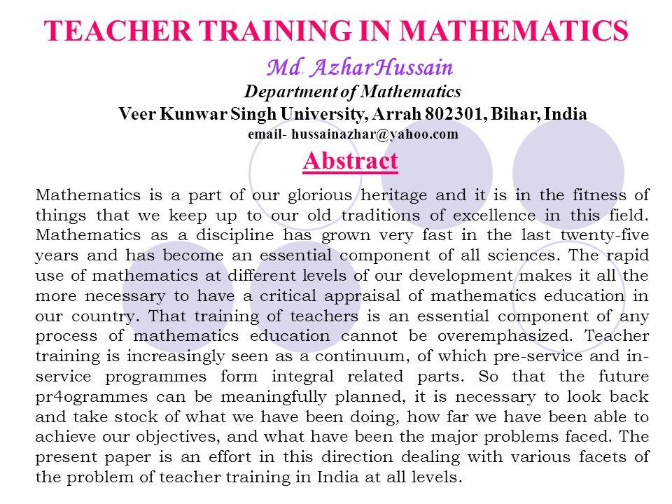 TEACHER TRAINING IN MATHEMATICS