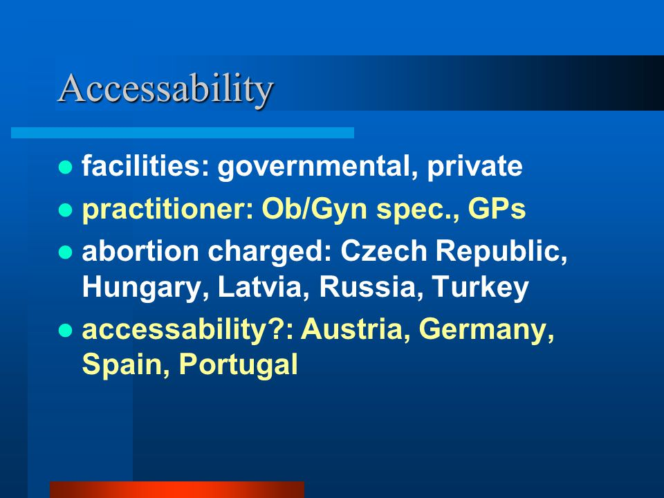 Accessability facilities: governmental, private