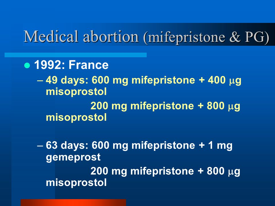 Medical abortion (mifepristone & PG)
