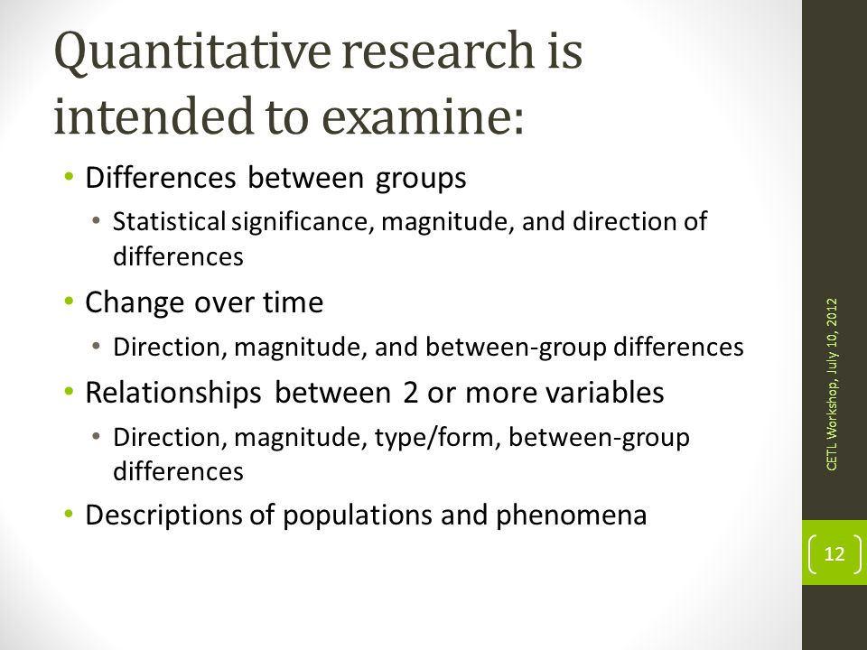 Quantitative research is intended to examine: