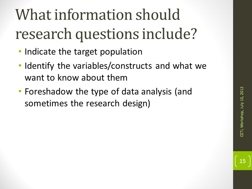 What information should research questions include
