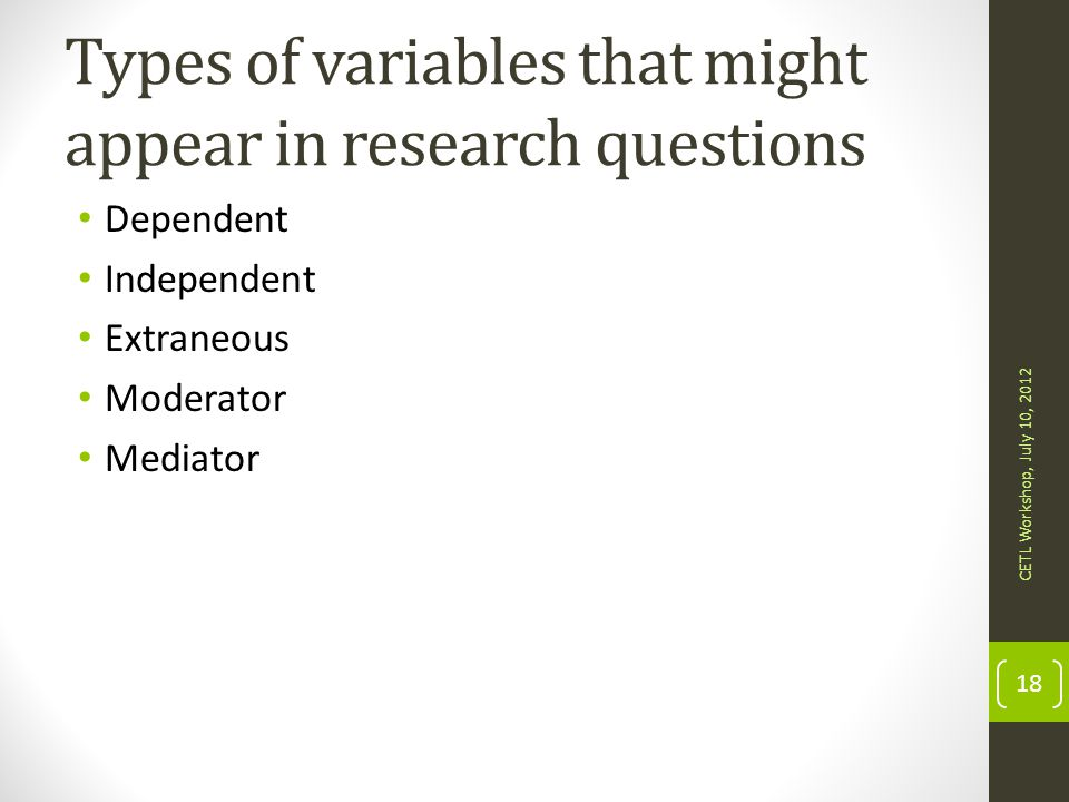 Types of variables that might appear in research questions