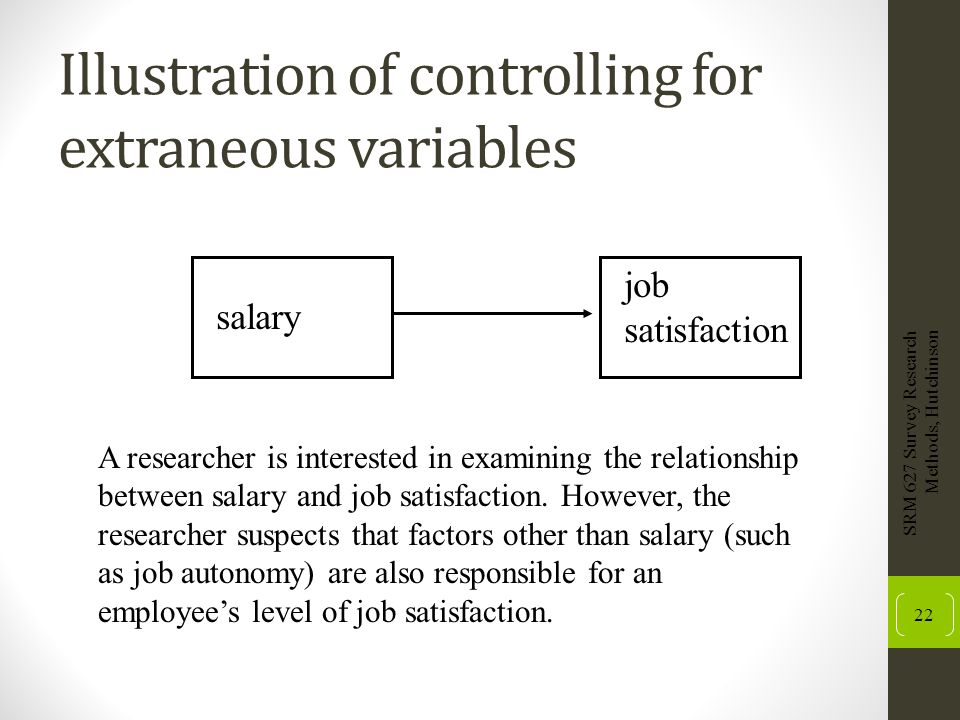 Illustration of controlling for extraneous variables