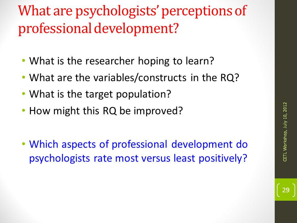 What are psychologists' perceptions of professional development