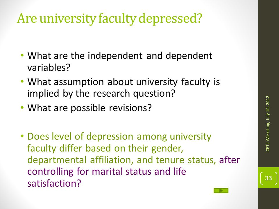 Are university faculty depressed