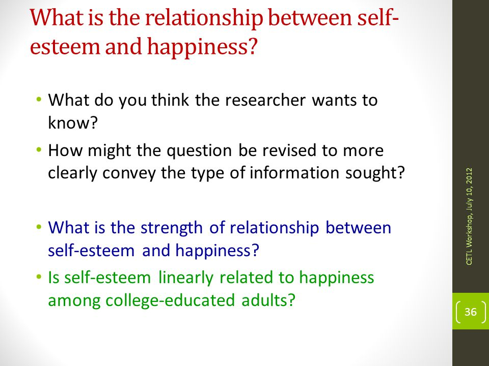 What is the relationship between self-esteem and happiness