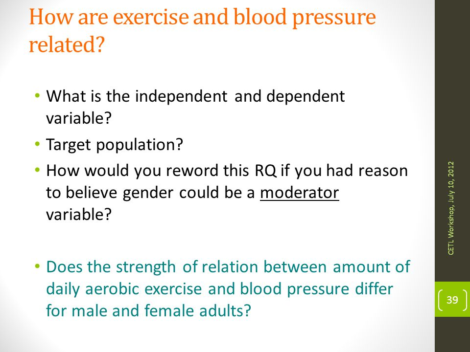 How are exercise and blood pressure related