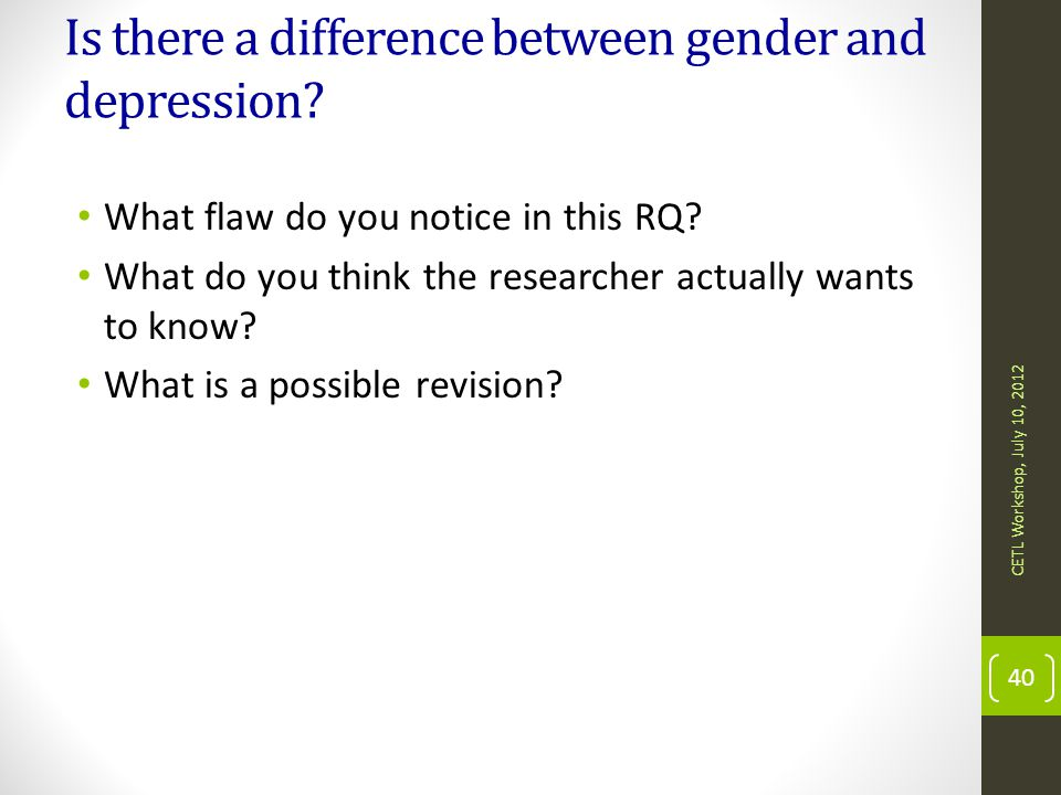 Is there a difference between gender and depression