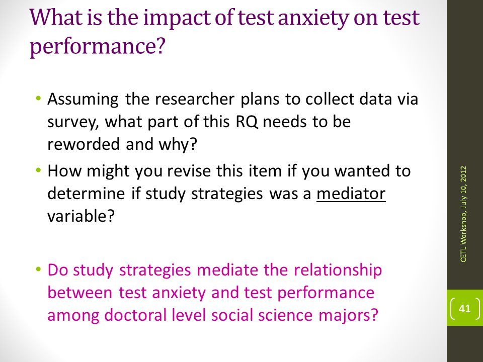 What is the impact of test anxiety on test performance