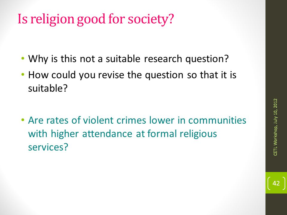 Is religion good for society
