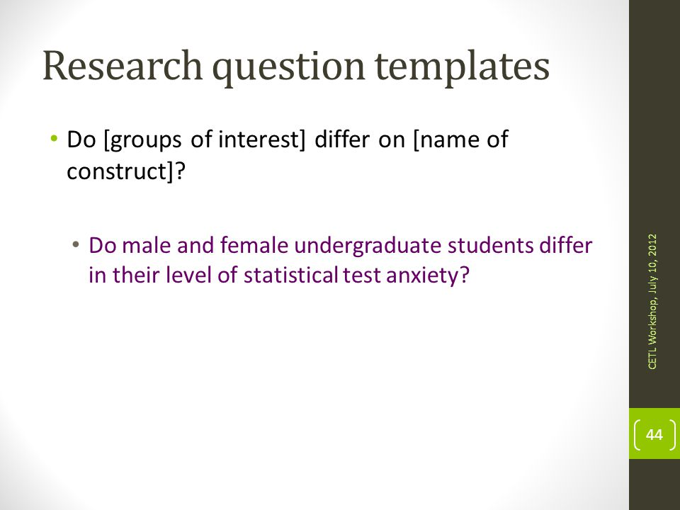 Research question templates