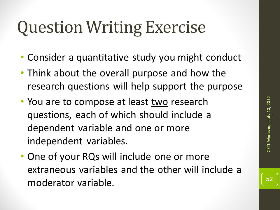 Question Writing Exercise