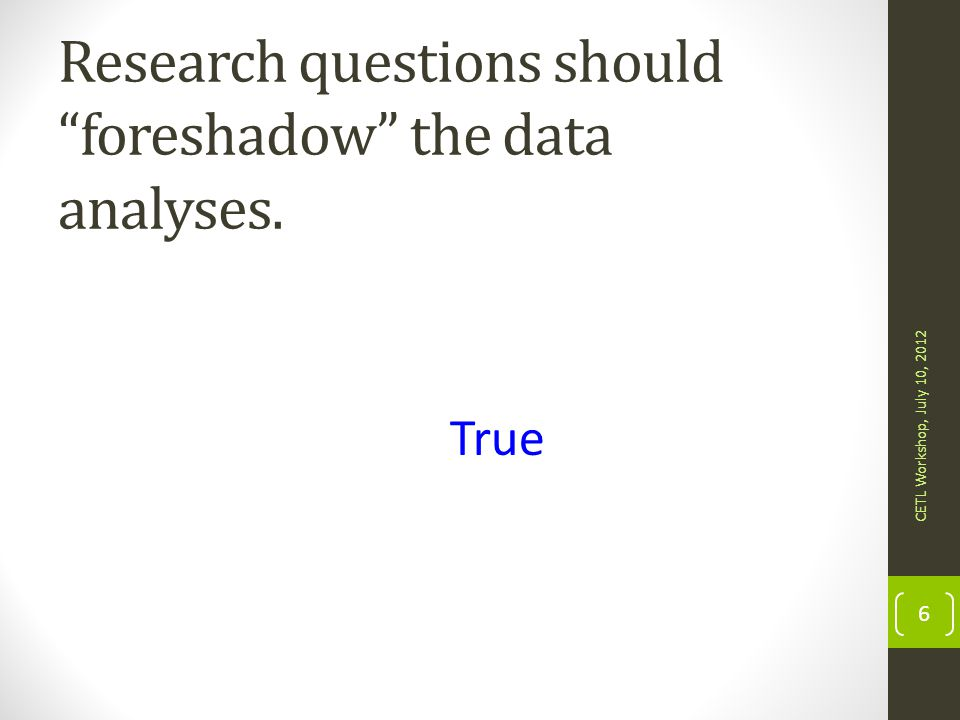 Research questions should foreshadow the data analyses.