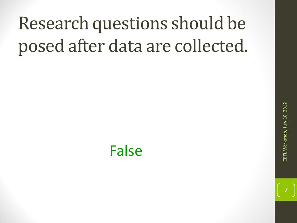 Research questions should be posed after data are collected.