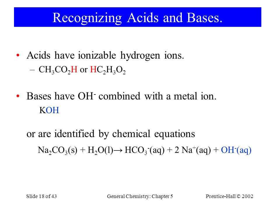 Recognizing Acids and Bases.