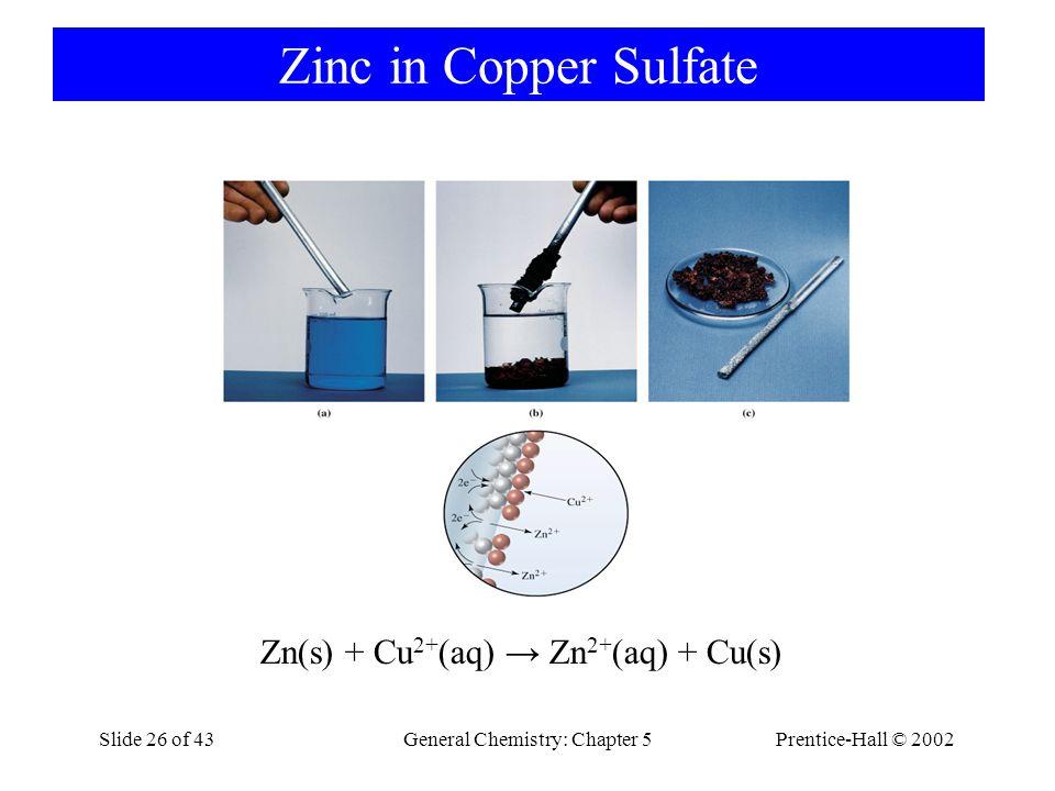 Zinc in Copper Sulfate Zn(s) + Cu2+(aq) → Zn2+(aq) + Cu(s)