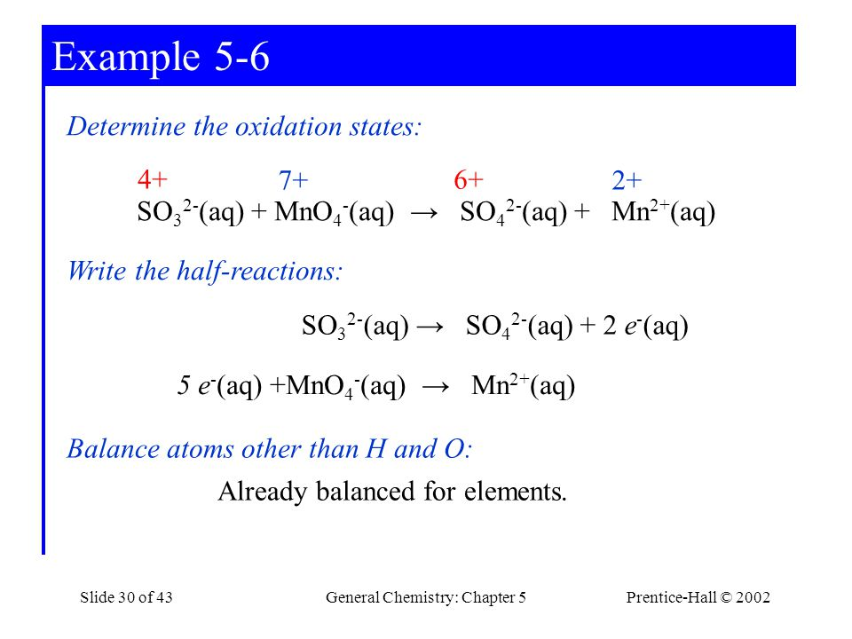 Example 5-6 Determine the oxidation states: 4+ 6+ 7+ 2+