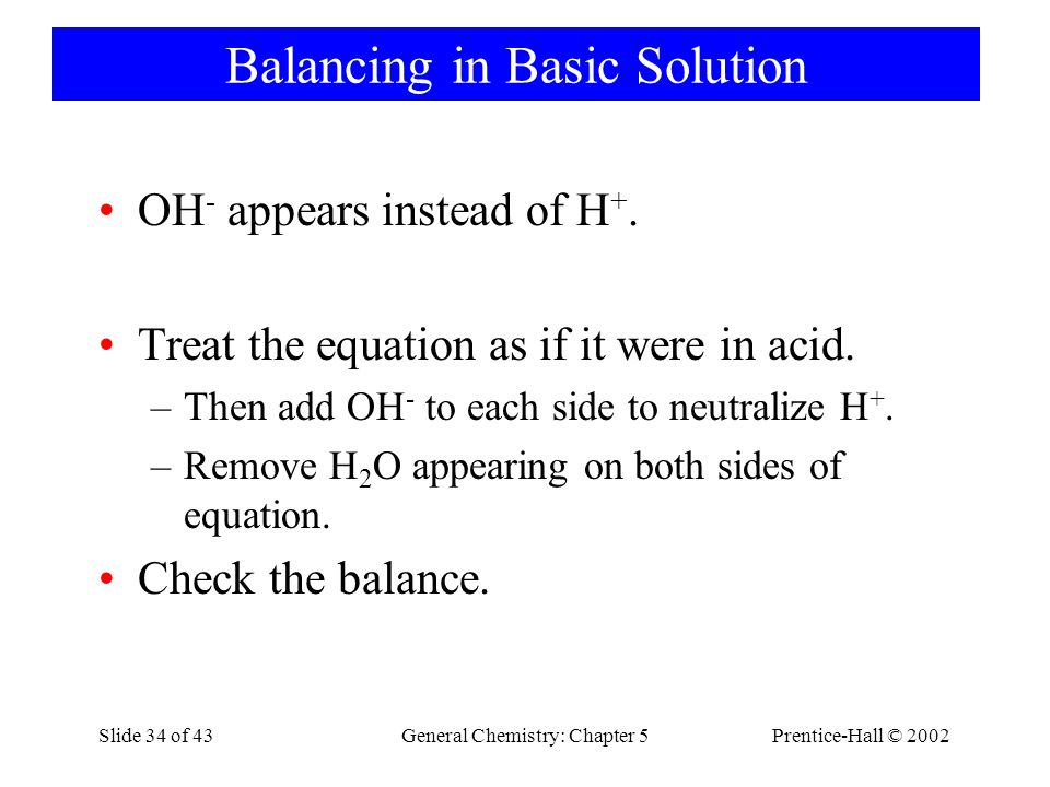 Balancing in Basic Solution