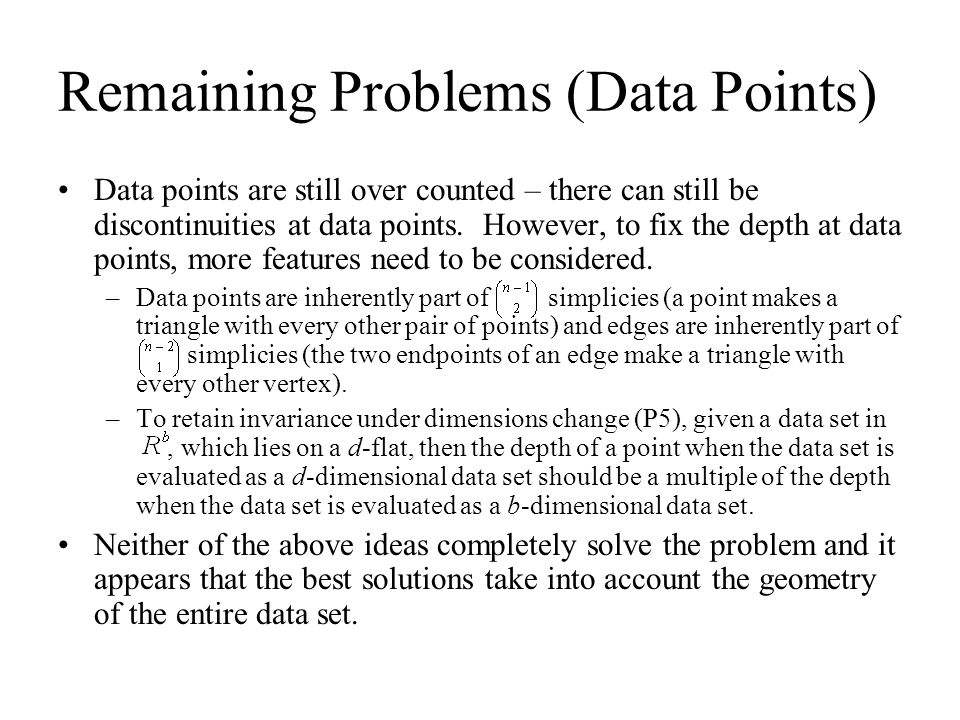 Remaining Problems (Data Points)
