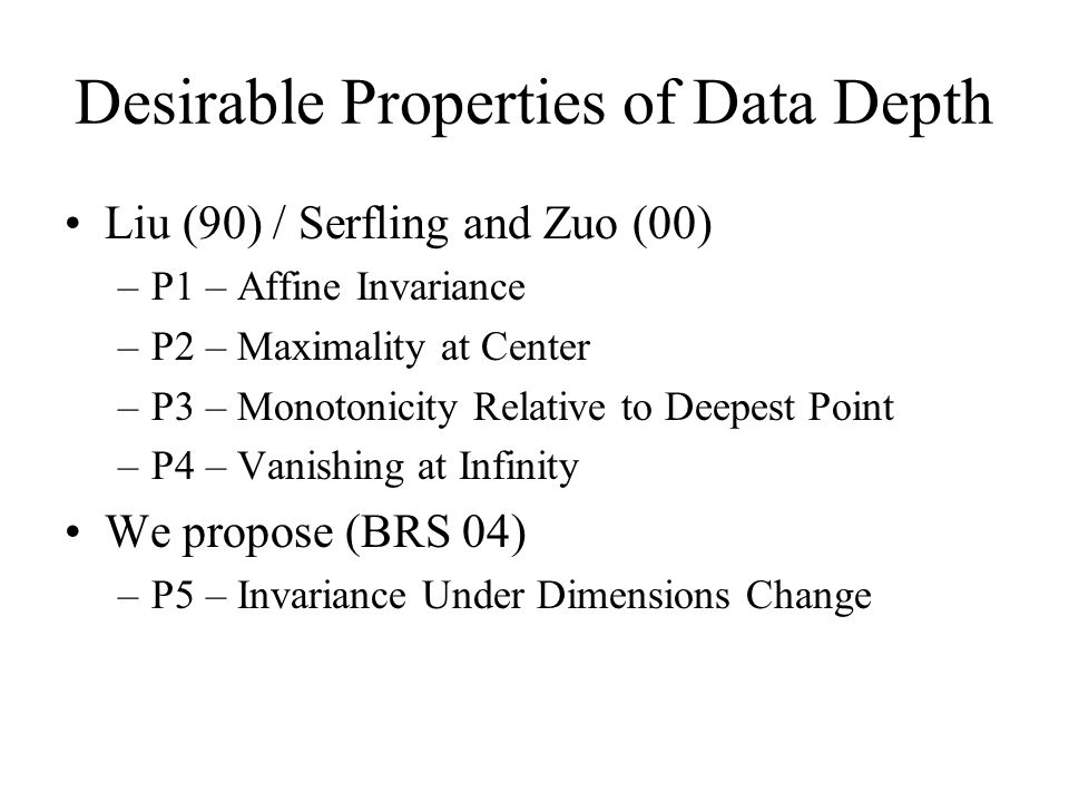 Desirable Properties of Data Depth