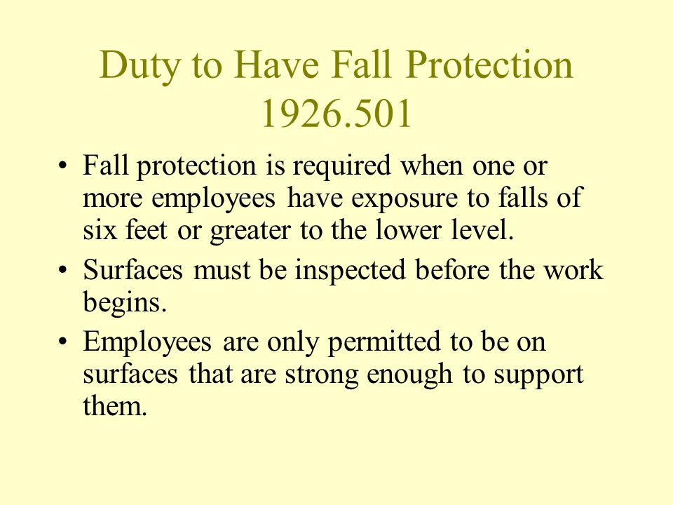 Duty to Have Fall Protection 1926.501