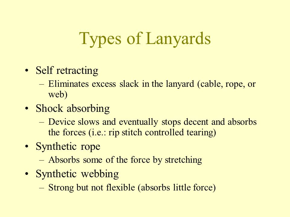 Types of Lanyards Self retracting Shock absorbing Synthetic rope