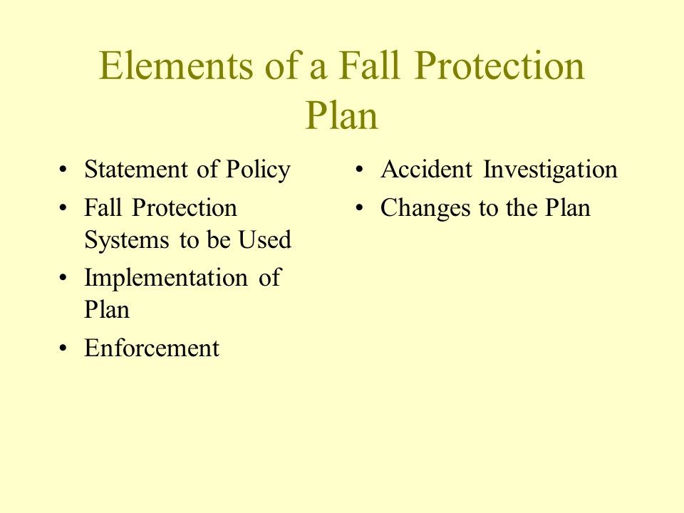 Elements of a Fall Protection Plan