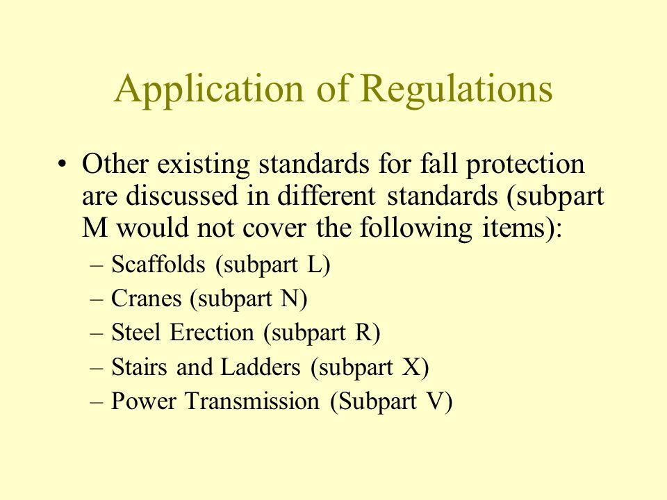 Application of Regulations