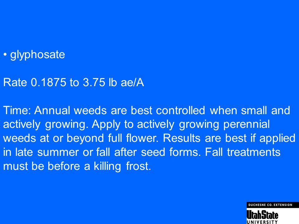 • glyphosate Rate 0.1875 to 3.75 lb ae/A. Time: Annual weeds are best controlled when small and.