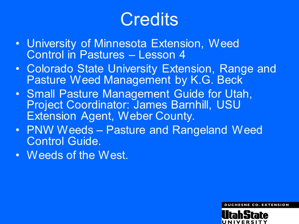 Credits University of Minnesota Extension, Weed Control in Pastures – Lesson 4.