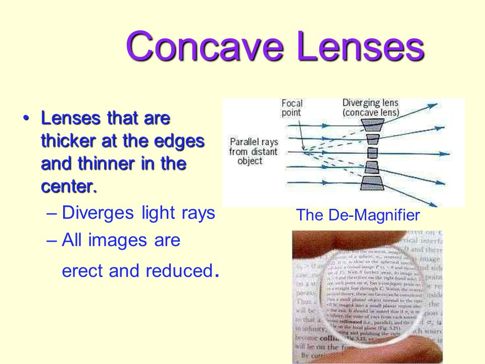 Concave Lenses Lenses that are thicker at the edges and thinner in the center. Diverges light rays.