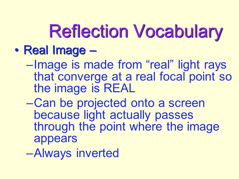 Reflection Vocabulary