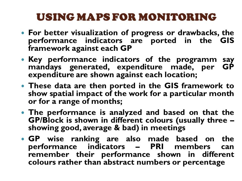 USING MAPS FOR MONITORING