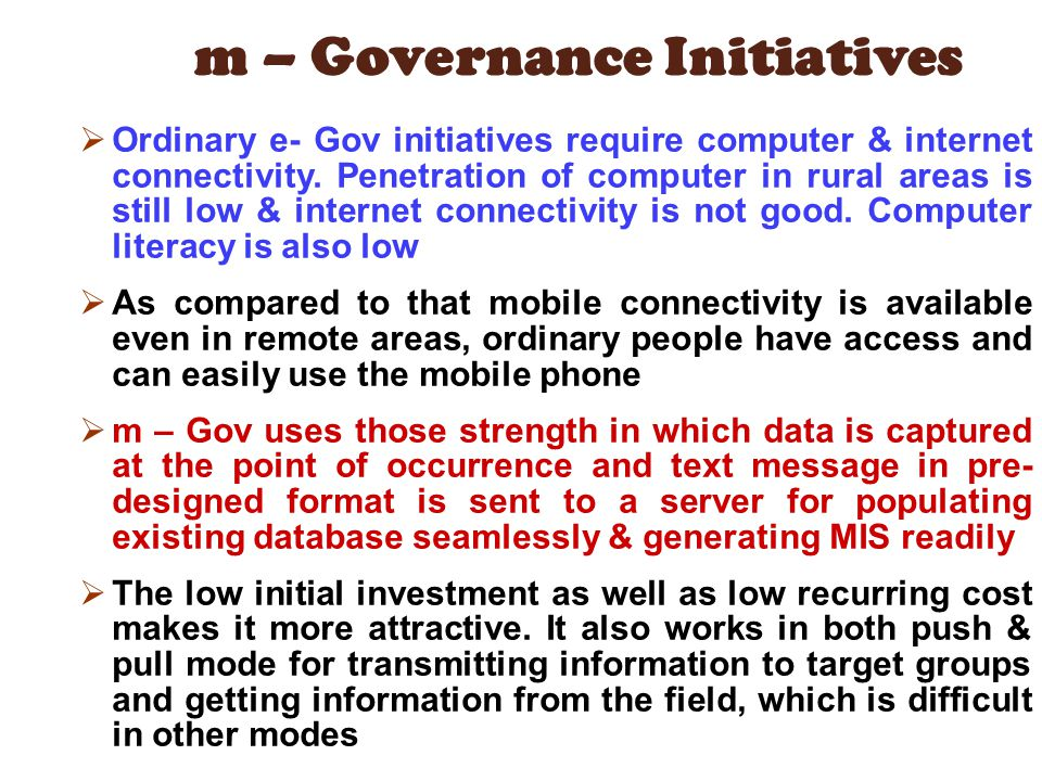 m – Governance Initiatives